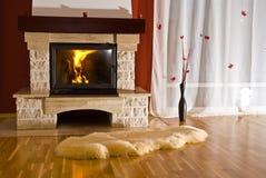 壁炉家庭地毯 库存图片