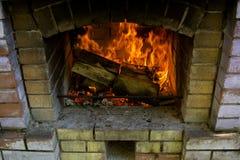 壁炉接近的视图 库存照片
