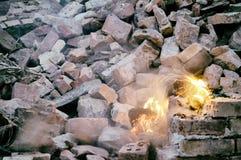 壁炉电灯泡艺术timexposure背景混凝土 库存图片