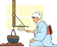 壁炉边日本传统 免版税库存照片