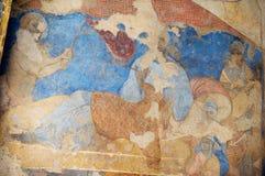 壁画和天花板装饰的片段在古老Umayyad的在扎尔卡,约旦离开Qasr Amra城堡  免版税库存照片