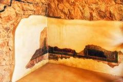 壁画和膏药在墙壁上在大希律王国王修造的指挥官的Residence 库存照片