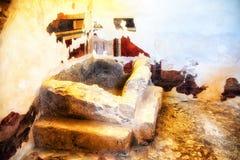 壁画和膏药在墙壁上在大希律王国王修造的指挥官的Residence 免版税图库摄影