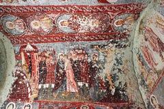 壁画在古老洞教会里在卡帕多细亚 免版税库存图片