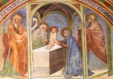 壁画在圣吉米尼亚诺-在寺庙的介绍 库存照片