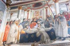 壁画在圣诞老人Trinita, Fl大教堂的Sassetti教堂里  免版税库存图片