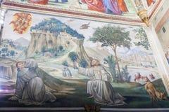 壁画在圣诞老人Trinita, Fl大教堂的Sassetti教堂里  库存照片