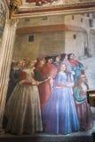 壁画在圣诞老人Trinita, Fl大教堂的Sassetti教堂里  库存图片