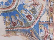 壁画在圣Nicola di Trullas Seme罗马式教会里  图库摄影