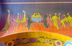 壁画在地狱,内部圣洁描述罪人的处罚 免版税图库摄影