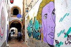 壁画在索维拉,摩洛哥麦地那的巷道  免版税库存照片