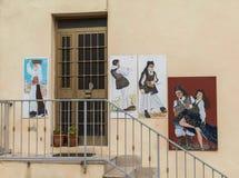 壁画在castelsardo的壁画 免版税图库摄影