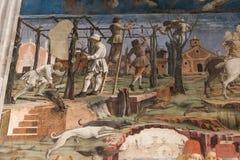 壁画细节在Palazzo Schifanoia,费拉拉,意大利的 免版税库存照片