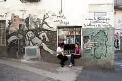 壁画orgosolo撒丁岛 免版税库存照片