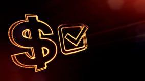 壁虱美元的符号和象征  光亮微粒财务背景  3D与景深的无缝的动画 库存例证