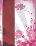 壁角典雅的花卉grunge模板 库存照片