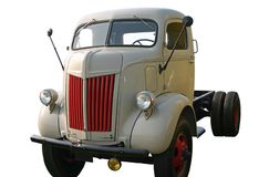 壁角前老卡车 免版税库存照片