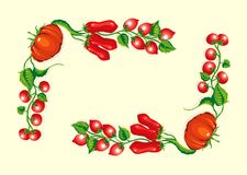 壁角框架风格化蕃茄 免版税图库摄影