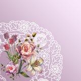 壁角水彩开花与在桃红色背景的一块白色餐巾 design illustration space 库存例证