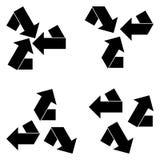 壁角箭头和箭头在中心和集中 免版税库存图片