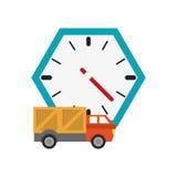 壁钟和truck van icon 库存图片