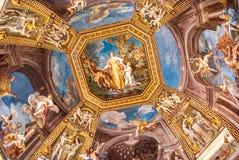 壁画在一个大厅里在梵蒂冈Musuems 图库摄影