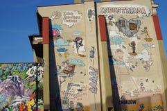 壁画在上部西莱亚西城市霍茹夫在有词` Industriada `的波兰 免版税库存图片