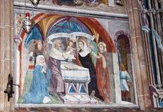 壁画在玛丽亚Schnee朝圣教会,奥地利 免版税库存图片