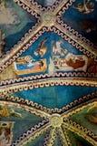 壁画在被加强的撒克逊人的教会里在村庄Malancrav,特兰西瓦尼亚 库存照片