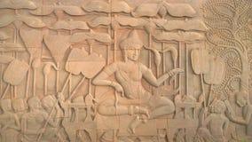壁画在吴哥窟, siemreap柬埔寨 图库摄影