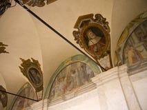 壁画在Trinita de Monte教会的修道院在罗马意大利 免版税库存照片