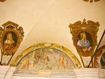 壁画在Trinita de Monte教会的修道院在罗马意大利 库存图片