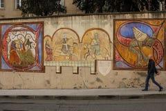 壁画 有中世纪题材的被绘的墙壁 卡尔卡松 法国 库存图片
