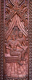 壁画木头雕刻 库存图片