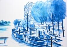壁画讲巴黎故事  免版税图库摄影