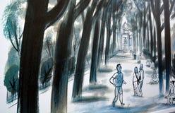 壁画讲巴黎故事  图库摄影