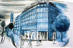 壁画讲巴黎故事  免版税库存照片