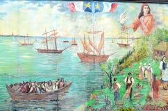 壁画讲acadians人故事  免版税库存图片