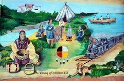 壁画讲acadians人故事  图库摄影
