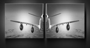 壁画飞机云彩旅行天空航空风速飞机背景黑色白色 图库摄影