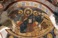 壁画,岩石教会在卡帕多细亚,土耳其,中东 图库摄影