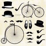 绅士和自行车的套 库存照片