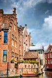 绅士,富兰德,比利时-利斯河河五颜六色的房子 免版税库存图片