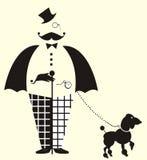 绅士 导航与乐趣绅士方格花纹裤和蝶形领结的图画 库存图片