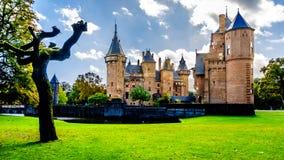壮观的城堡美丽的被修剪的庭院包围的德哈尔 免版税库存图片