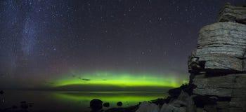 壮观的极光Borealis全景 免版税库存图片