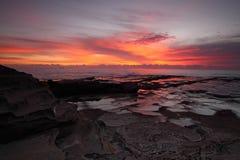 壮观的海洋日出 库存照片