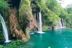 壮观的瀑布在Plitvice国家公园 库存图片