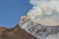 壮观的火山Etna爆发,西西里岛,意大利 免版税图库摄影