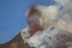 壮观的火山Etna爆发,西西里岛,意大利 库存照片